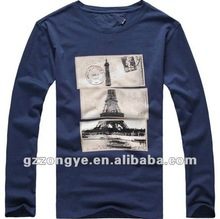 Men T shirts long sleeve print letter or animal O neck plain tees