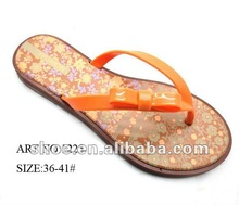 2013 Lady pvc slipper printed flower name brand shoes cheap