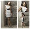 Ivory Lace V Back Black Ribbon Open Back Sexy Short Wedding Dresses 2013