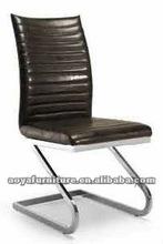 AY-2012C modern chrome black leather dining chair