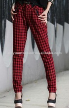 2014 hot sale Autumn Check England-Style women long aerobic long kameez with and trousers