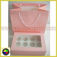 Baby Pink Color Printed cupcake box packaging