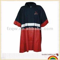 Reflective safety pvc rain poncho