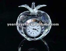 Arrival apple shape crystal glass desk clock for office gift clock(R-1223