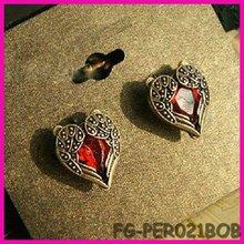 Vintage Bronze Rhinestone angel wing Ear Stud Earring heart