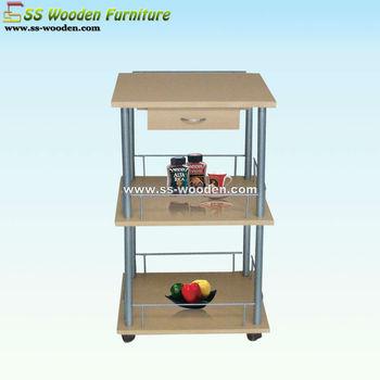 Wood Food Push Cart