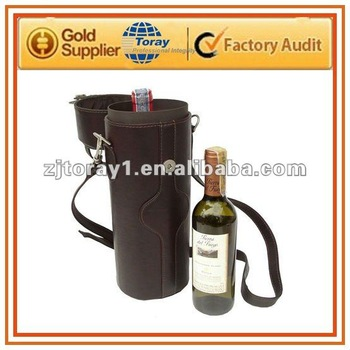 Stylish leather single deluxe wine carrier