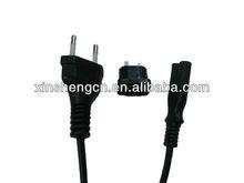 Euro 2 flat pin plug with 8 shape connector C7 plug