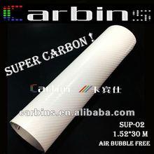New Carbon! Super Glossy 4D Carbon Fiber Vinyl For Car Wrap Pure White!