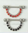 Fashion nipple decorations ring/rainbow cz for jewelry