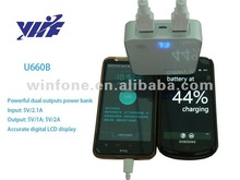 2012 New 2a mini usb car Charger for ipad ,Li-ion 18650 Battery with silver and black color--U660B