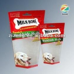 Milky Bone Porkhide Rolls standing dog food bag with custom logo printing