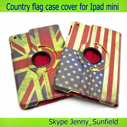 360 rotating contry flag leather case for ipad mini cover
