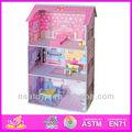 2015 venda quente do brinquedo de madeira casa de bonecas, arborizadas brinquedo casa de boneca& acessórios com boa qualidade w06a018