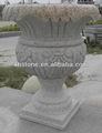 2014 nuevo estilo popular europea de piedra natural tallada a mano adornos al aire libre jardín macetas de piedra( 24 años de fábrica)