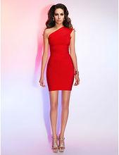 2014 modern dress,one shoulder in red color