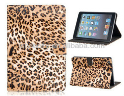 Leopard Print Pattern Design PU & PC Protective Case with Stand Function for iPad Mini