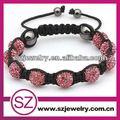 rosa shamballa braccialetto di perline stile caldo 10mm 9 palle