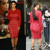 Sheath Kim Kardashian Long Sleeves Cocktail Length Celebrity Party Gowns Sexy Red Lace Dress