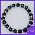 Señoras 9-10mm papa negro en forma de pulsera de la perla pb064