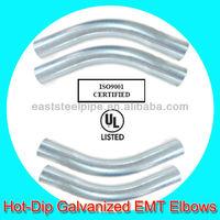 galvanized 22.5 degree emt pipe elbow