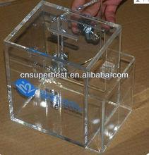 acrylic Charity donaiton box with lock