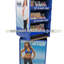 setting-up exercise dvd display for sport store rotating shelving cardboard display retail display cabinets