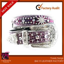 purple wholesale 100% genuine leather bling belt