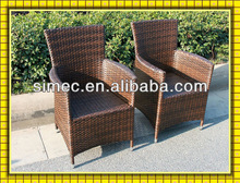 aluminum and wicker ratan chairs
