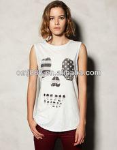 Street personality article star skull printed sleeveless T-shirt