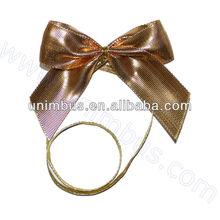 golden metallic ribbon stretch loop bow