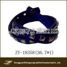 Royal blue pyramid studded wrap leather bracelet