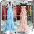 nuevo 2015 de las mujeres de moda vestido de gasa con volantes de abalorios de la cinturaimperio de lujo vestidos de novia