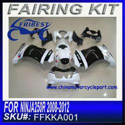NINJA 250 fairing For KAWASAKI fairing for NINJA250R 2008-2012 WHITE AND BLACK FAIRING KIT FFKKA001