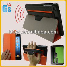 Magnetic sound enhancer leather cover case for ipad mini