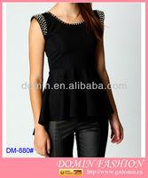 Stud & Spikes Detail Peplum Top,rock inspired clothing,bead shoulder ladies tops