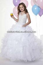 2013 Hot Sale White Ball Gown Halter First Communion Flower Girl Dress 33405