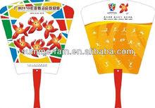 OEM promotion hand fan /color printed small hand fan / plastic pp fan Guangzhou supplier