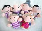 Lovely family stuffed plush finger puppets toys