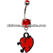 Valentine's Day Ruby Red Gem Nail in Heart Belly Ring Body Piercing