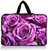 Purple flower neoprene laptop sleeve with handle