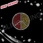 bling bling zebra peace sign rhinestone transfer design for t-shirts with Korea lead free rhinestones
