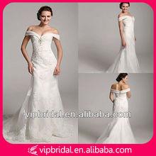 Elegant White Beaded Floor Length Meimaid Wedding Dress 2013 Lace