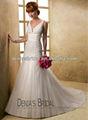 وصول جديدة خط أبيض 2013 الخامس-- الرقبة فستان الزفاف تول مطرزة بابا
