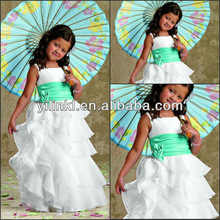 Fancy Angel Tiered Ruffles White Color Dresses Cheap Flower Girl Dress