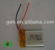 502025 3.7v 180mah lipo battery, li-polymer 3.7v 180mah for digital products