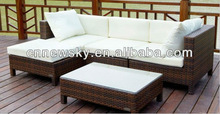 Outdoor Furniture Poly Wicker Garden Sofa Bed Livingroom Furniture Rattan Sofa Set