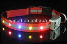 Pet products wholesale nylon safety flashing led dog collar