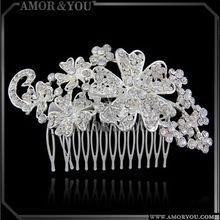 Cheap Custom Elegant Alloy Crystal Bridal Flower Hair Comb Wedding Hair Accessories WHSA0055R-CR