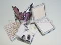 De forme carrée cosmétiques miroir de poche avec cuir d'unité centrale pour le cadeau promotionnel